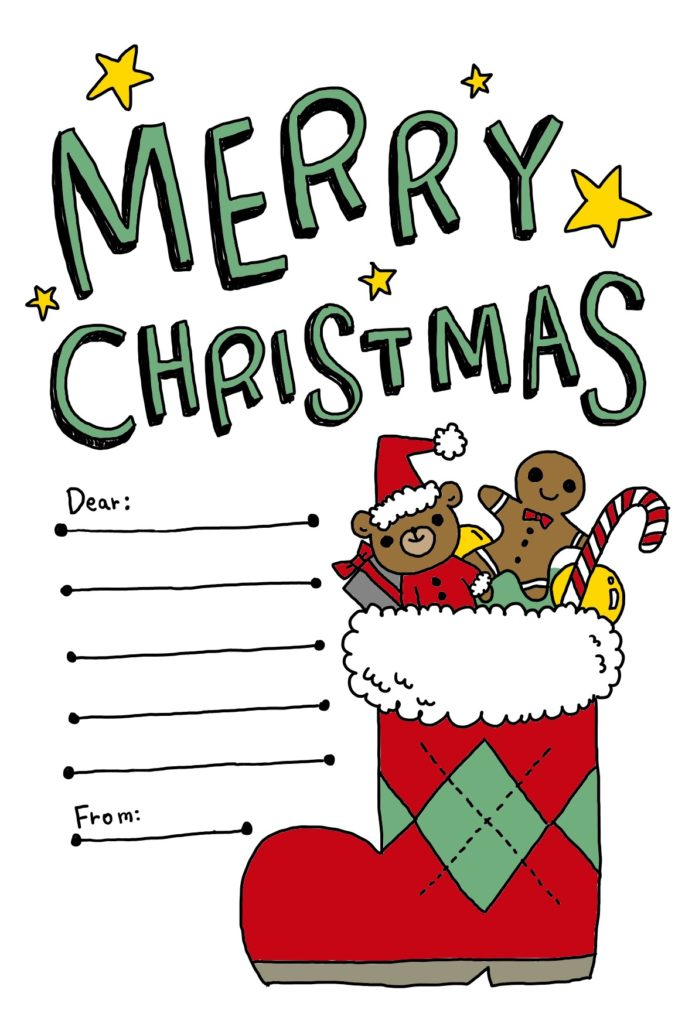 クリスマス クリスマスブーツ 長靴 メッセージカード なおこさんのフリーイラスト 無料素材 フリーイラスト アイコン 無料 イラスト イラスト無料 無料イラスト