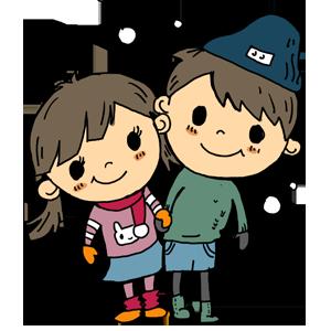 女の子と男の子 冬 子供 なおこさんのフリーイラスト 無料素材 フリーイラスト アイコン 無料 イラスト イラスト無料 無料イラスト