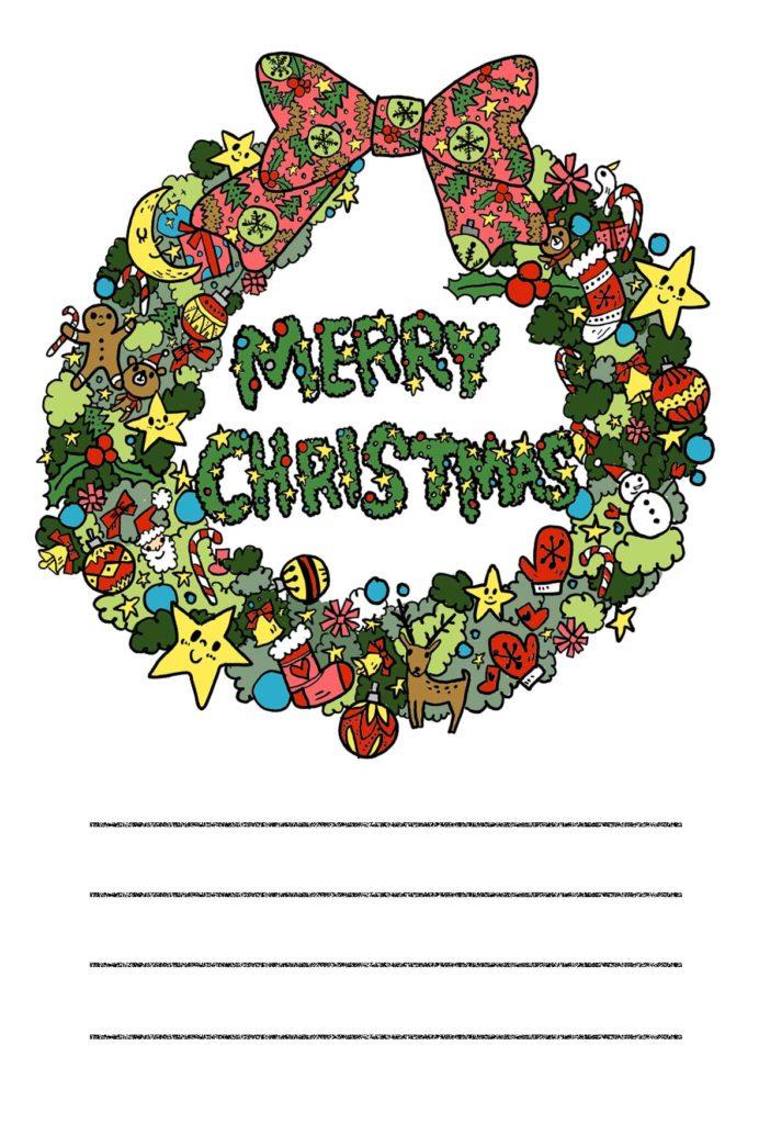 クリスマス クリスマスリース メッセージカード なおこさんのフリーイラスト 無料素材 フリーイラスト アイコン 無料 イラスト イラスト無料 無料イラスト