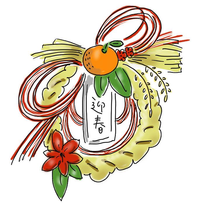 お正月 しめ縄 お正月飾り 迎春 ゆるかわ ゆるいイラスト 冬 なおこさんのフリーイラスト 無料素材 フリーイラスト アイコン 無料 イラスト イラスト無料 無料イラスト