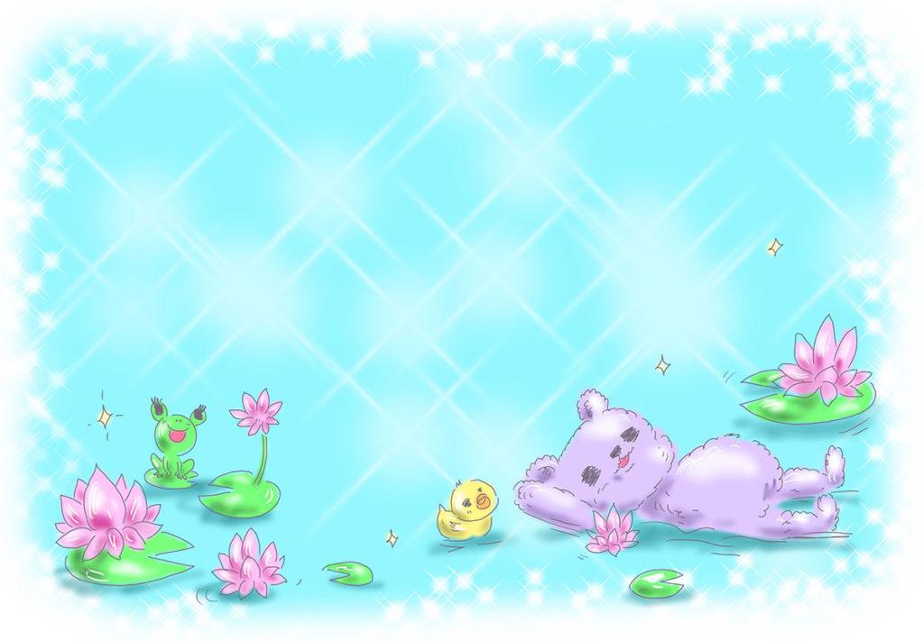 ゆめかわ ゆめかわいい ゆるかわ きもかわ クマ ハスの花 ブルー 水色 背景 ピンク なおこさんのフリーイラスト 無料素材 フリーイラスト アイコン 無料 イラスト イラスト無料 無料イラスト
