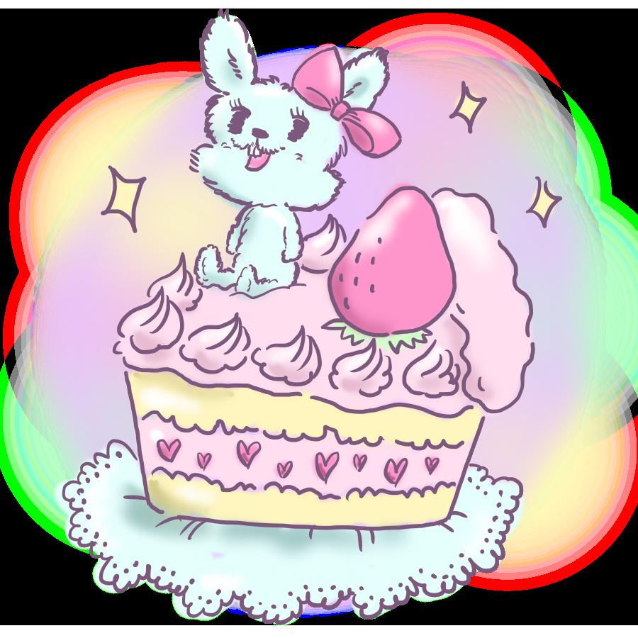 ケーキ 動物 ウサギ うさぎ ショートケーキ 苺 ゆるかわ ゆめかわいい ゆめかわ なおこさんのフリーイラスト 無料素材 フリーイラスト アイコン 無料 イラスト イラスト無料 無料イラスト