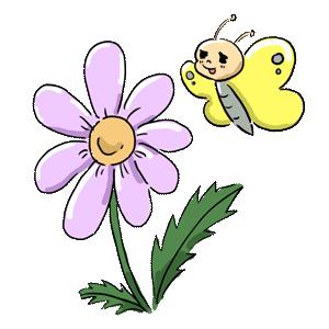 植物 花 蝶々 ちょうちょ ゆるイラスト ゆるい なおこさんのフリーイラスト 無料素材 フリーイラスト アイコン 無料 イラスト イラスト無料 無料イラスト