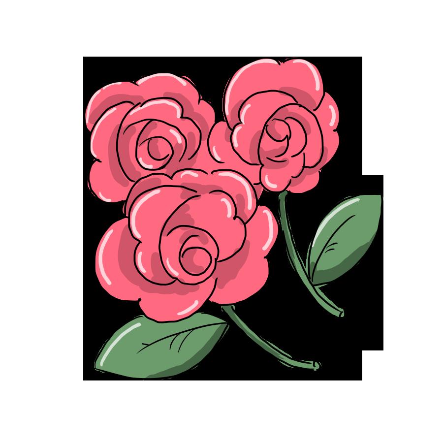植物 花 薔薇 バラ ばら ゆるイラスト ゆるい なおこさんのフリーイラスト 無料素材 フリーイラスト アイコン 無料 イラスト イラスト無料 無料イラスト