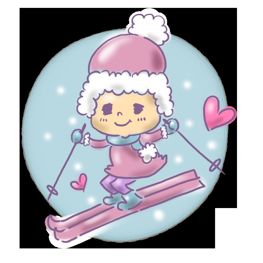 スキー 女の子 ゆるかわ ゆめかわいい ゆめかわ なおこさんのフリーイラスト 無料素材 フリーイラスト アイコン 無料 イラスト イラスト無料 無料イラスト