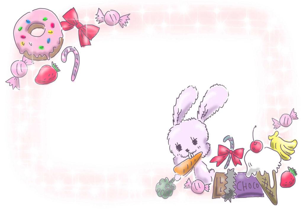 背景 スイーツ ウサギ 飾り ゆるかわ ゆめかわいい ゆめかわ なおこさんのフリーイラスト 無料素材 フリーイラスト アイコン 無料 イラスト イラスト無料 無料イラスト