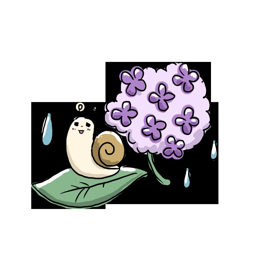 植物 花 紫陽花 あじさい カタツムリ ゆるイラスト ゆるい なおこさんのフリーイラスト 無料素材 フリーイラスト アイコン 無料 イラスト イラスト無料 無料イラスト