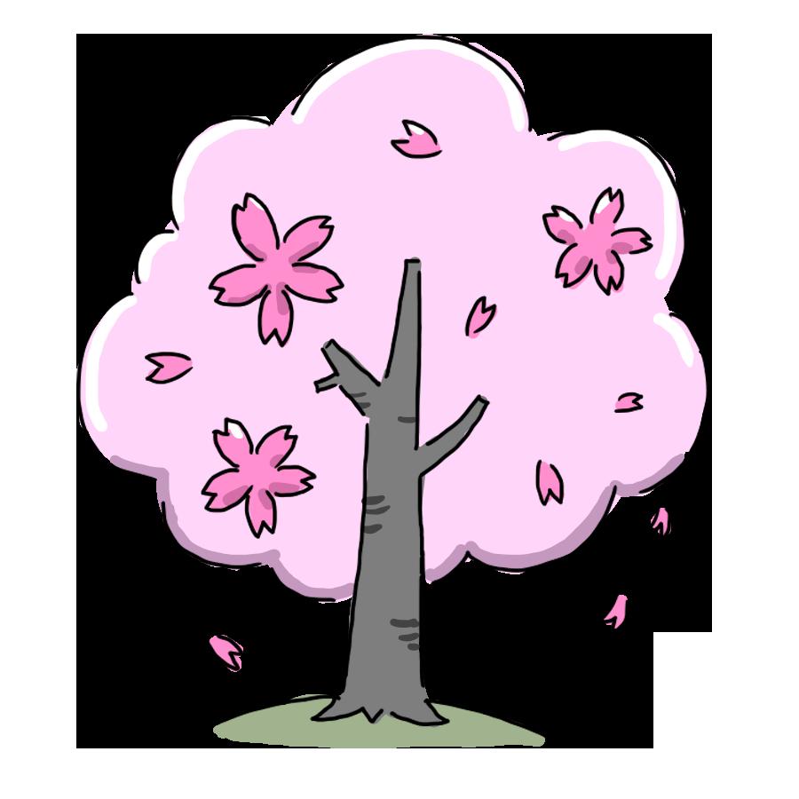 植物 季節 花 桜 桜の木 お花 ゆるイラスト ゆるい なおこさんのフリーイラスト 無料素材 フリーイラスト アイコン 無料 イラスト イラスト無料 無料イラスト