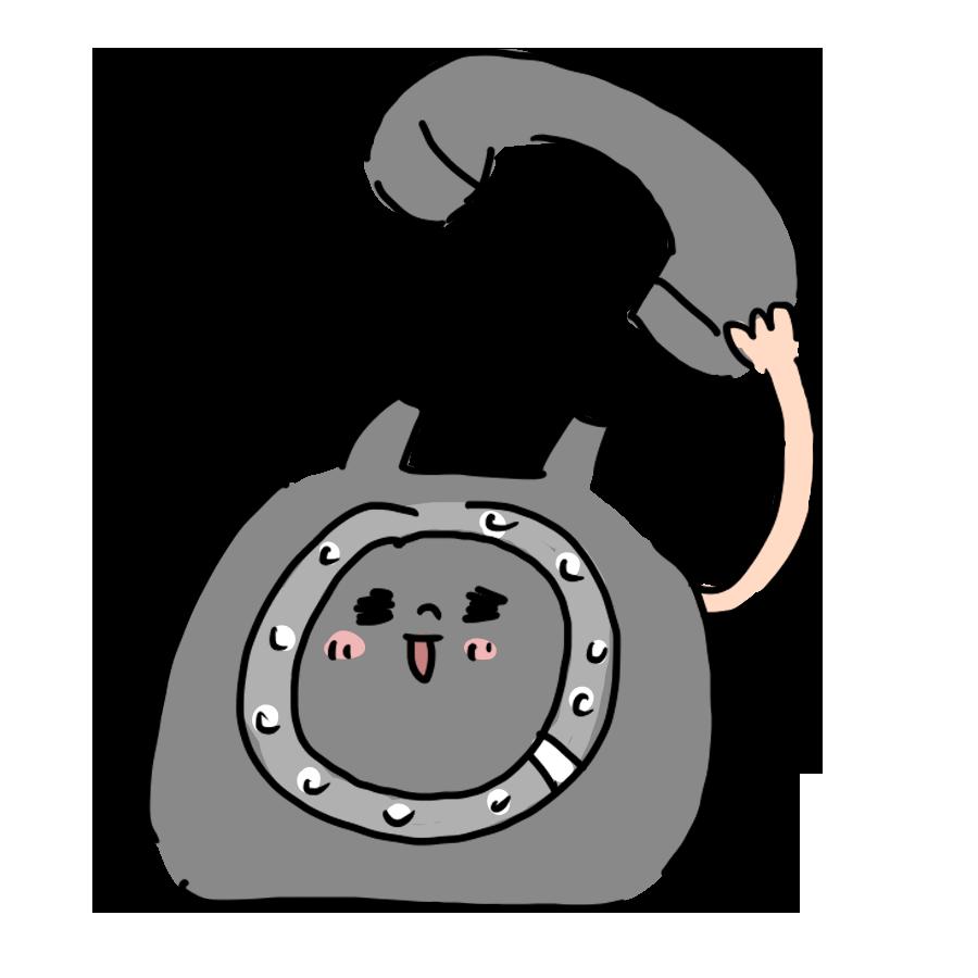 生活用品 日用品 物 電話 黒電 ゆるい ゆるイラスト ゆるいイラスト なおこさんのフリーイラスト 無料素材 フリーイラスト アイコン 無料 イラスト イラスト無料 無料イラスト