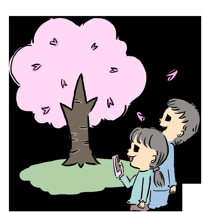 植物 花 桜 桜の木 お花見 カップル 人物 自粛 コロナ お花 ゆるイラスト ゆるい なおこさんのフリーイラスト 無料素材 フリーイラスト アイコン 無料 イラスト イラスト無料 無料イラスト