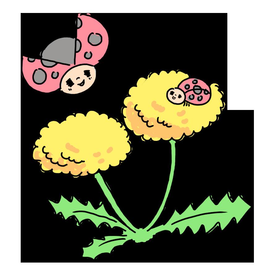 植物 花 たんぽぽ 虫 動物 てんとう虫 お花 ゆるイラスト ゆるい なおこさんのフリーイラスト 無料素材 フリーイラスト アイコン 無料 イラスト イラスト無料 無料イラスト