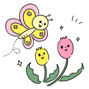 植物 花 チューリップ 虫 動物 蝶々 ちょうちょ お花 ゆるイラスト ゆるい なおこさんのフリーイラスト 無料素材 フリーイラスト アイコン 無料 イラスト イラスト無料 無料イラスト