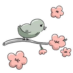 植物 花 梅 梅の花 ウグイス うぐいす 鶯 鳥 動物 お花 ゆるイラスト ゆるい なおこさんのフリーイラスト 無料素材 フリーイラスト アイコン 無料 イラスト イラスト無料 無料イラスト