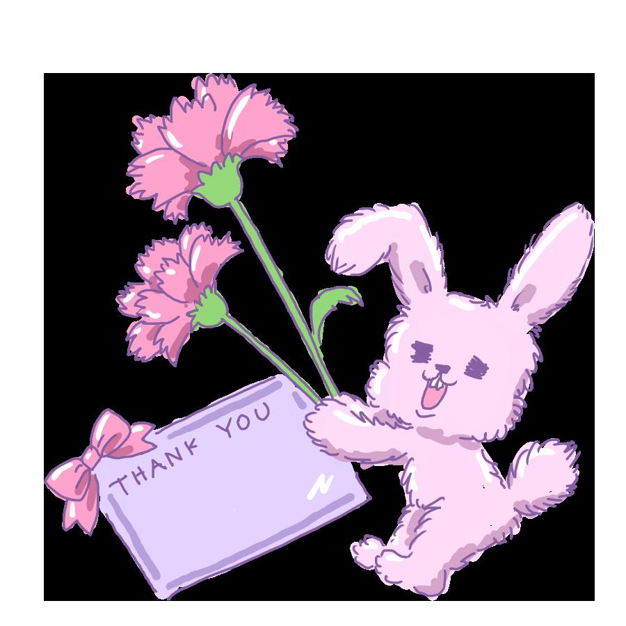 母の日 ウサギ うさぎ カーネーション 背景 テンプレート やみかわいい ゆるイラスト ゆるい なおこさんのフリーイラスト 無料素材 フリーイラスト アイコン 無料 イラスト イラスト無料 無料イラスト