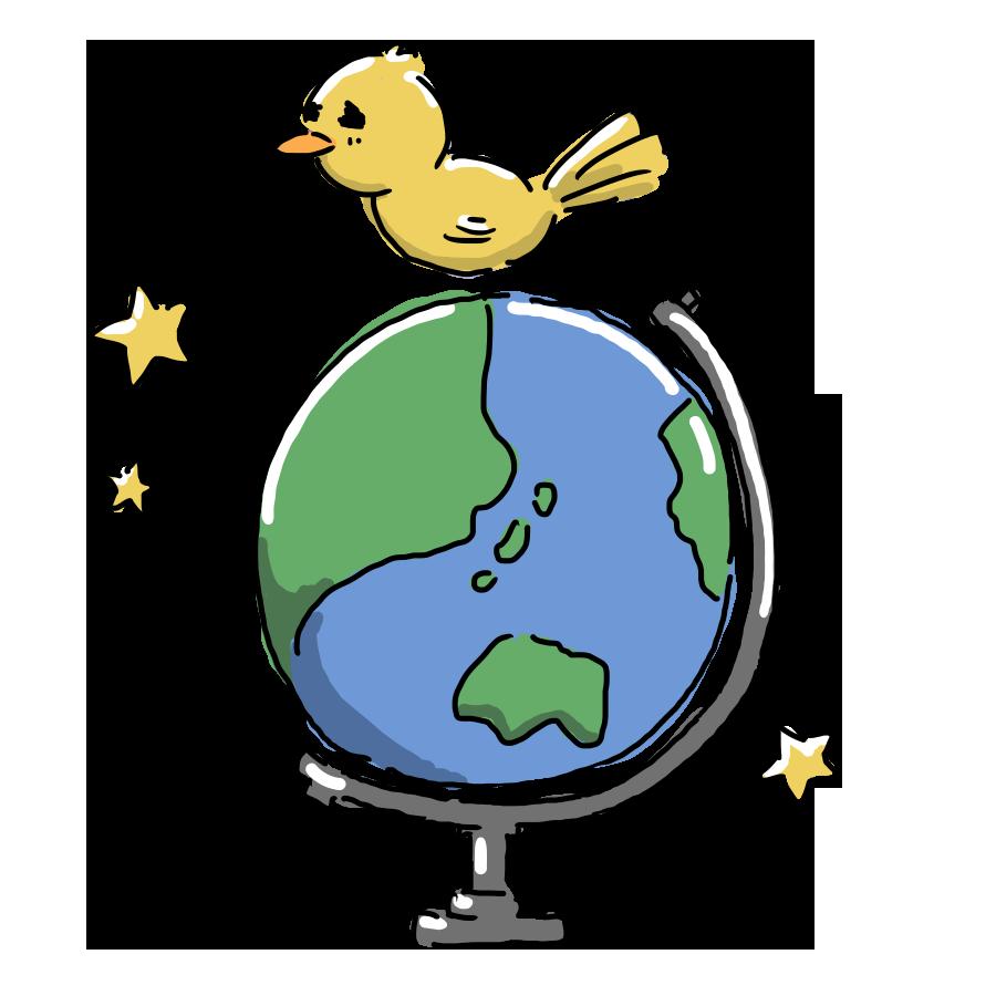 なおこさんのフリーイラスト 無料素材 フリーイラスト アイコン 無料 イラスト イラスト無料 無料イラスト ゆるいイラスト ゆるかわ ゆるい 地球儀 勉強 鳥 ひよこ 動物 物 生活用品 日用品
