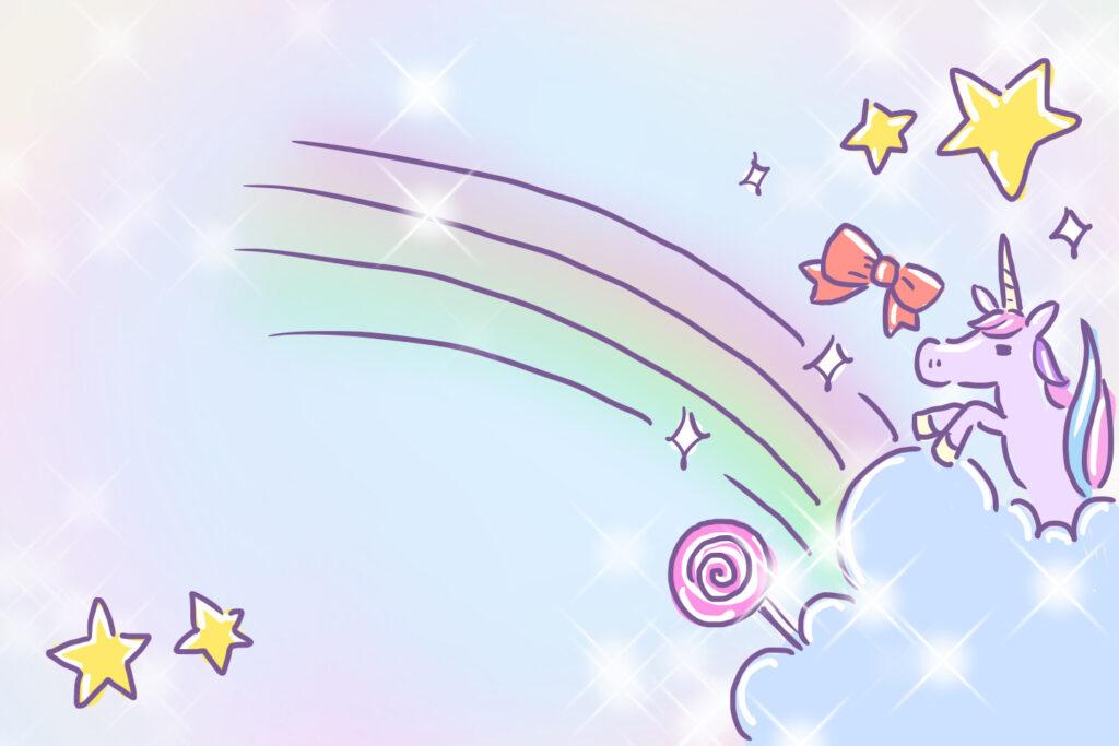ゆめかわ ゆめかわいい ゆるかわ きもかわ ユニコーン 背景 ピンク なおこさんのフリーイラスト 無料素材 フリーイラスト アイコン 無料 イラスト イラスト無料 無料イラスト
