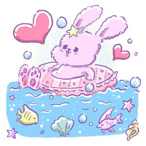 ゆめかわイラスト うさぎ ウサギ 浮き輪 海水浴 きもかわいい 病みかわいい 動物 動物イラスト 魚 海 ゆめかわいい ゆるい ゆるいイラスト なおこさんのフリーイラスト 無料素材 フリーイラスト アイコン 無料 イラスト イラスト無料 無料イラスト