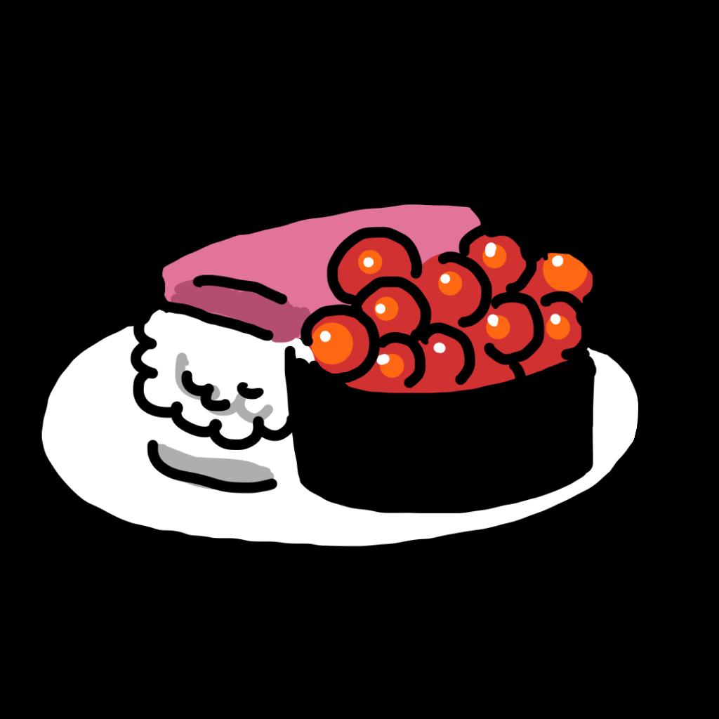 ゆるい ゆるいイラスト 食べ物 食べ物のイラスト 寿司 寿司のイラスト マグロ まぐろ いくら イクラ なおこさんのフリーイラスト 無料素材 フリーイラスト アイコン 無料 イラスト イラスト無料 無料イラスト