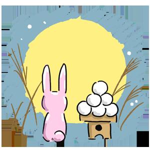 季節のイラスト 季節 秋 9月 お月見 ウサギ 月見団子 月 十五夜  ゆるい ゆるいイラスト ゆめかわいい なおこさんのフリーイラスト 無料素材 フリーイラスト アイコン 無料 イラスト イラスト無料 無料イラスト