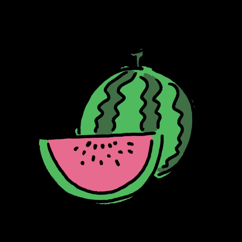 スイカ すいか 果物 フルーツ 夏 食べ物 なおこさんのフリーイラスト 無料素材 フリーイラスト アイコン 無料 イラスト イラスト無料 無料イラスト